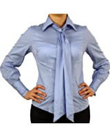 9632 PERANO Damen Bluse, Baumwolle, Langarm, mit Schluppe, hellblau, lila, rot, weiß, schwarz, S, M, L, XL, XXL!