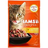 Iams Delights Adult Huhn & Paprika, Nassfutter für erwachsene Katzen, Probiergröße, Einzelbeutel (85 g)