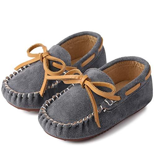Pastaza Kinder Mokassins Wildleder Schuhe Mädchen Loafers Jungen Bootsschuhe Slip-On Rutschfest Babyschuhe für Frühling Sommer Grau,22 EU