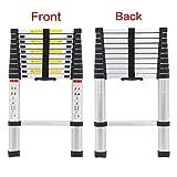 Bowose 3.2M Telescopic Multi Purpose Ladder Portable Aluminium 10.5 Ft Light Weight Extendable Attic Ladder Max 150KG Load for Outdoor Indoor Home Loft Office, UK Stock Bild 2