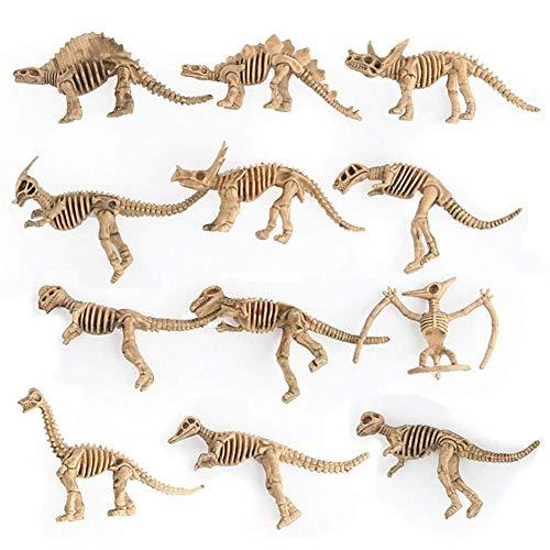 RENNICOCO Verschiedene Dinosaurier Fossil Skeleton Figuren Kinder Spielzeug, Pädagogische Simulierte Dinosaurier Knochen Spielzeug Dinosaurier Geschenkset 12 stücke