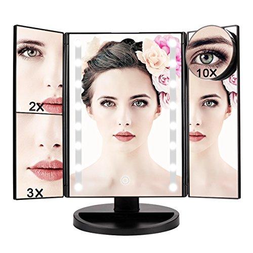 4 Beleuchtete Make-up-Spiegel,Kosmetikspiegel, 1 x/2 x/3 x/10 x Vergrößerungsspiegel ,Schminkspiegel Beleuchtet,mit 16 LED Lichter,Touchscreen und 180 ° Verstellbarer Ständer Kosmetikspiegel, batterie
