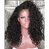 Fire wolf Perruque:Humain Full Lace sans Colle Full Lace Cheveux Brésiliens Kinky Curly Bob Coupe Carré Coupe Dégradée avec Frange 130% avec des Cheveux de bébé Racines foncées Ligne de Cheveux:130%