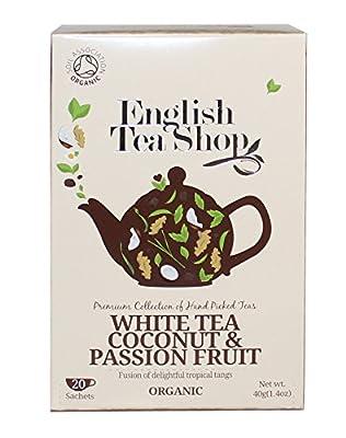English Tea Shop Thé blanc à la noix de coco et passion Thé blanc aux fruits et à la noix de coco et fruit de la passion biologique Récolté à la main par le Sri Lanka - 1 x 20 sachets (40 grammes)