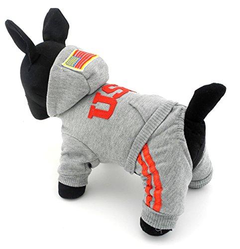 zunea Pet Apparel klein Hund Katze Kleidung Kostüm USA Hoodies mit Hosen Jumpsuit Vierbein Coat Jacke (Tzu Halloween Kostüme Shih)