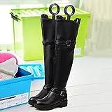 XRXY Botas de plástico altas camillas Botas Estereotipos zapatos Stent alargador de zapatos alargados (3 colores disponibles) ( Color : Negro )