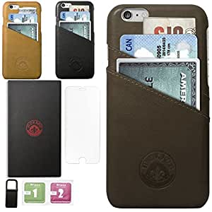 iPhone 6 6s Leather Slim Luxury Wallet Case with Card Slots for Credit Card Id and Cash- Free Tempered Glass and Phone Stand With Gift Box Packing Dark Brown