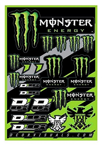 Planche d'autocollant Monster Énergy 19 Stickers 40-90-102 Moto Scooter kit déco