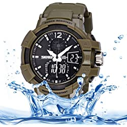 Skmei Quarz + Digital Dual Movement 5 ATM Waterproof Round Dial Chronograph & Luminous Function Herren Sport Uhr mit PU Plastic Cement Band (Army Green)