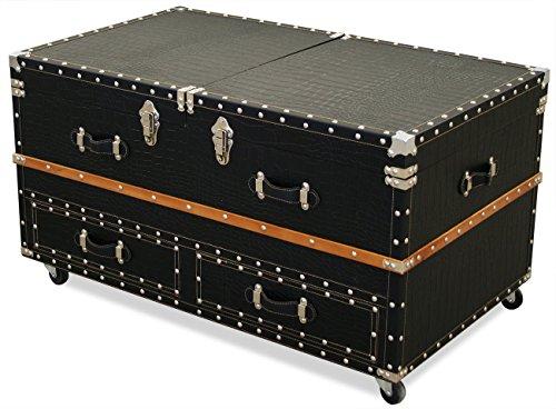 KMH®, Couchtisch / Bartisch / Truhe aus MDF mit Kunstlederbezug (#800032)