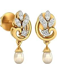 PC Jeweller The Hermeli 18KT Yellow Gold, Diamond & Pearl Earring