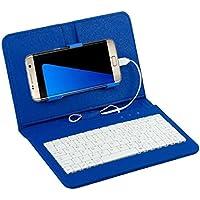 Sannysis Teclado con cable Caso para Teléfono móvil Android 4.2-6.8 pulgadas (Azul)