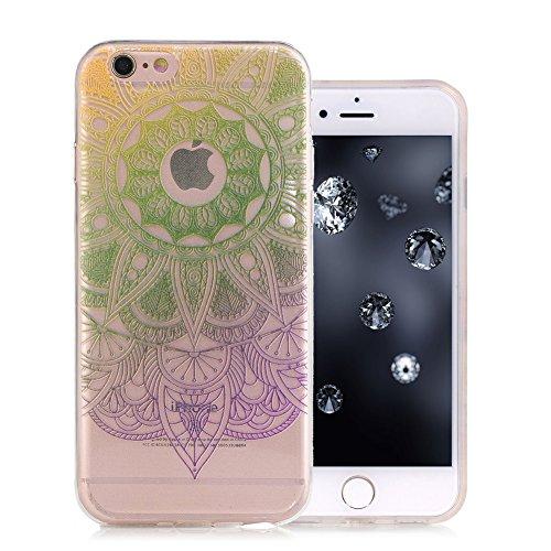iPhone 6S Coque, Aeeque Fleurs de Dentelle Blanc Dessin Transparent Crystal Silicone Doux TPU Protection Contre les Chutes Case Cover Housse Etui pour iPhone 6 / 6S 4.7 pouce Motif #36