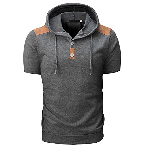 YUHUISTART Sweatshirt Herren Oberteile Frühling Kurzarm Knöpfe Sweatshirt Regular Fit Kapuzen Sweatshirt