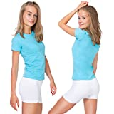 MITAAMI Short en Coton Super Soux Femme, Stretch, Yoga, Culotte de Sport PSL5 Blanc, 38