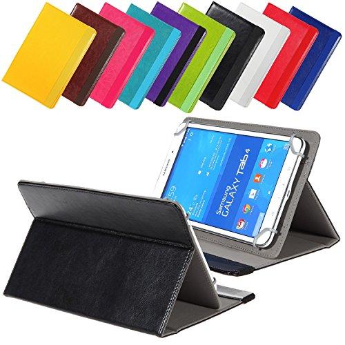 Universal elegante Kunstleder-Tasche für verschiedene Tablet Modelle (9 /10 /10.1 Zoll, Schwarz) Größe Schutz Case Hülle Cover Neigungswinkel verstellbar, mit Gummibandverschluss in gleicher Farbe