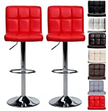 Pair of Cuban Bar Stools Set with Backrest, Leatherette Exterior, Adjustable Swivel Gas Lift, Chrome Footrest and Base for Breakfast Bar, Counter, Kitchen and Home Barstools (Red)
