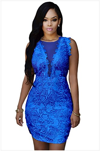 meinice pizzo nude Mesh Accent Dress Blue Large