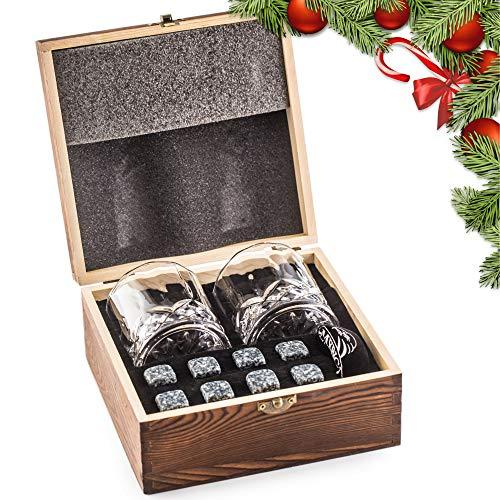 Deluxe Whisky Steine Geschenkset - Sei anders bei der Geschenkauswahl - Luxus Handgemachte Holzkiste mit 2 Whiskey Gläsern - 8 Granit Kühlsteine + Samtbeutel - Whisky Stones Gift Set