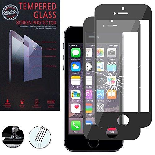 VComp-Shop® 2x Hochwertige gehärtete Panzerglasfolie für Apple iPhone 5/ 5S/ SE - SCHWARZ