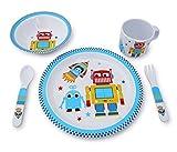 Culina Kids piatto e ciotola in melamina stoviglie – Robot, Set di 5