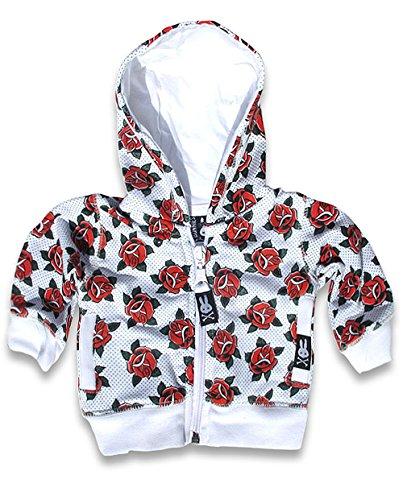 Six Bunnies cute Tattoo Roses Rockabilly Baby Hoodie Kapuzen Sweatjacke, Farbe:weiss, Kindergrößen:0-3 Monate (Kapuzen-sweatshirt Bunny)