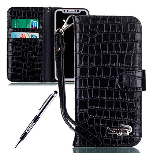 iPhone X Cover Custodia, iPhone X Custodia Pelle, JAWSEU iPhone X Protezione Creativo Diamante Gufo Libro Disegno Wallet Pouch Leather Flip Case Cover Custodia per iPhone X Cover Copertura con Super S Coccodrillo Nero