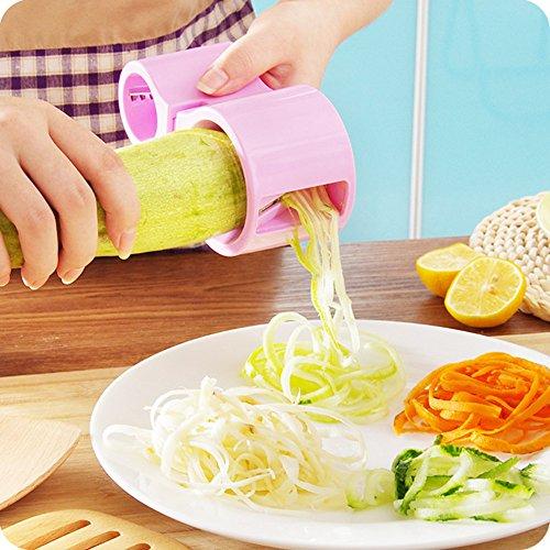 Premium Vegetable Spiralizer, Spiral Slicer, Zucchini Noodle Pasta Spaghetti Spirals Maker Julienne Cutter Peeler (PINK)