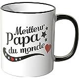 "Wandkings Tasse, message ""Meilleur Papa du monde"" - NOIR"