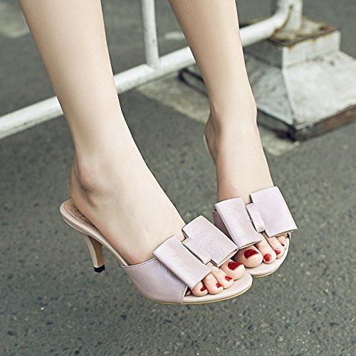 ZYUSHIZ Frau Leder Hausschuhe Hausschuhe feine High-Heel Sweet Bow Tie Sandalen Rosa