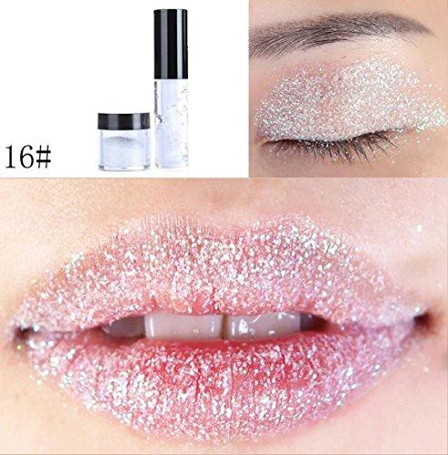 LONUPAZZ 20 Couleurs Poudre Glitter Lip Gloss Yeux Rouge à LèVres Paillettes Palette Fards à Paupières Waterproof Ombre à Paupières Shimmer Eyeshadow (P)