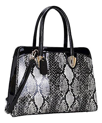 ladies-designer-black-snake-embossed-satchel-tote-handbag-shoulder-bag