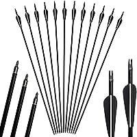 12pack 31inch Arrows Tiro con Arco Caza Fibra de Vidrio Reemplazo Screw-In Broadheads para 20-55lbs Compuesto y Arco Recurvo