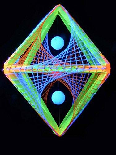 PSYWORK Schwarzlicht 3D StringArt Oktaeder Neon Sunset, 60cm
