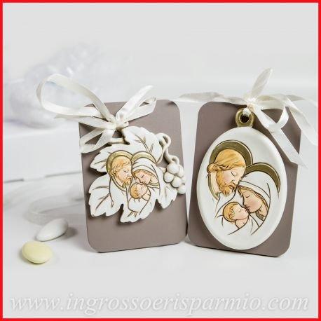 Quadretto/icona in legno e resina a forma di foglia raffigurante la sacra famiglia, completa di nastro da appendere - bomboniere battesimo,comunione,cresima( 12 kit + confezione)