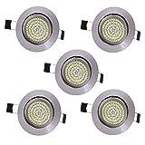 5 x Lu-Mi LED Einbaustrahler Flach 230V - Deckenspots Ultra Flach Einbaustrahler | 350 Lumen | 230V | 3,5W | Licht: Warmweiss 3200K | Gehäuse Rund | (Edelstahl gebürsted)