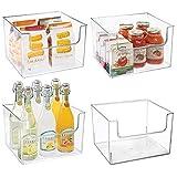 mDesign Juego de 4 cajas de almacenaje de alimentos - Organizador de nevera, armario o congelador con frontal abierto - Caja de plástico sin BPA para frigorífico - transparente