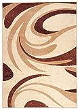 TAPISO Dream Tappeto Camera Soggiorno Salotto Moderno Marrone Beige Crema Disegno Astratto Onde Facile da Pulire