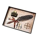 Pluma de ave Vintage DIP lápiz pluma estilográfica con tinta 3Nibs Juego schreibwaren Caja Regalos