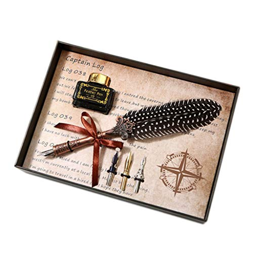 Exing Schreibfeder Mit Tintenfass Set,Retro Dip Pen 3 X Ersatzspitzen 1 X Tinte Reibungsloses...