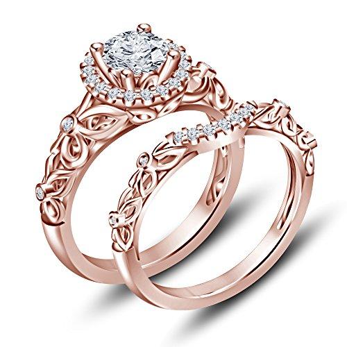 Vorra Fashion Sterling Remasuri 14K Rose Gold Brillante CZ Cut Princess Schnee weiß Hochzeit Ring Set