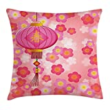 Ntpclsuits Lantern Pillow Case Chinese New Year Theme Cherry Blossom Auspicious Festive Celebration Print 18 X 18 Inches