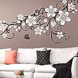 Grandora W5391 Wandtattoo 2-farbige Blumenranke mit Schmetterling Wohnzimmer Schlafzimmer schwarz (BxH) 151 x 58 cm