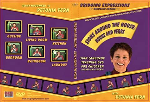 ASL Sign Language DVD for Kids Learn Signs Around the House: Nouns and Verbs Teaching DVD By Petunia Fern - This DVD Is Animated!! It Has Over 60 Signs!