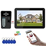 9 Zoll Wired/Wireless Wifi Fingerprint RFID Password Video Door Phone Doorbell Intercom Entry System with IR-CUT 1000TVL Wired Camera Night Vision, Support Remote APP Enlocking, Recording, Snapshot