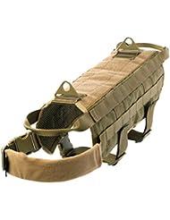 Yisibo arnés del perro táctico militar chaleco de entrenamiento de perro policía Molle compacto chaleco arnés ajustable de nylon chaleco Packs Escudo Ropa para mascotas Marrón (Coyote Brown) L