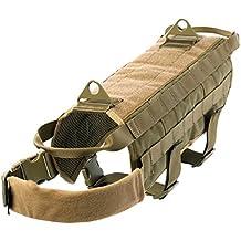 Yisibo cablaggio del cane militare addestramento tattico della maglia di polizia Molle cane compatto cablaggio della maglia in nylon regolabile Vest Confezioni Coat Pet Abbigliamento (Marrone, XL)