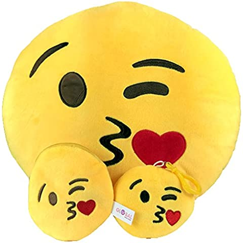 Emoji Cuscino Free portachiavi catena e morbido denaro Portafoglio Portamonete Smiley Fake Poop Throw cuscino emoticon Cute a forma di peluche Love Giallo Rotondo Marrone Set Regalo Grande giocattolo divertente Merchandise – Accessori tutto per bambini prime (Poop) New Kisses