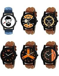 NEUTRON New 3D Design Beard Style Black Blue And Brown Color 6 Watch Combo (B12-B13-B14-B15-B16-B17) For Boys...