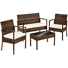 TecTake Conjunto muebles de Jardín en Poly Ratan Sintetico marrón - negro 4 plazas, 2 sillones, 1 mesa baja, 1 banco